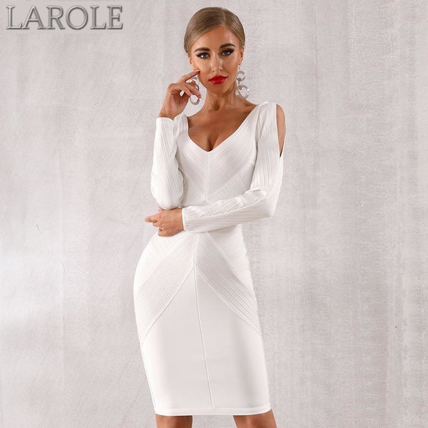 Long Sleeve Hollow Out White Evening Party Bandage Dress