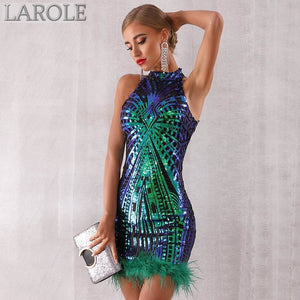 Elegant Sexy Sleeveless Sequin Midi Club Dress