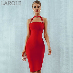 Hollow Out Choker  Midi Red Bandage Dress - Available in more colors