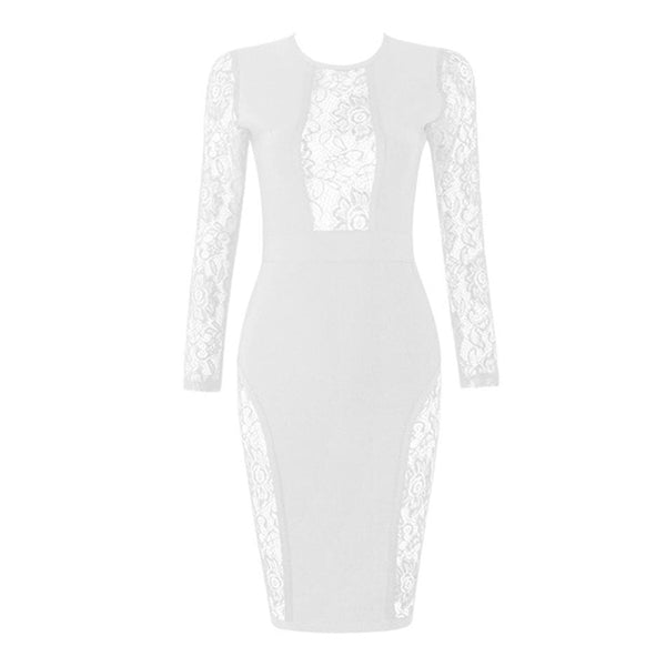 White See Through Sheer Lace Long Sleeve O-Neck  Party Bandage Dress
