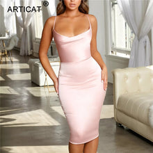 Load image into Gallery viewer, Satin Strapless  Spaghetti Strap Backless Sheath Summer Dress - More Colors Are Available