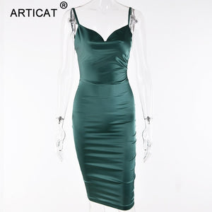 Satin Strapless  Spaghetti Strap Backless Sheath Summer Dress - More Colors Are Available