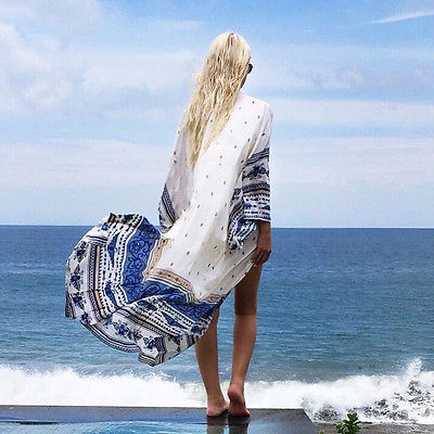 Boho Women Kaftan Bathing Suit Swimwear Bikini Cover Up Beach Long  Shirt Thin Chiffon Long Blouse