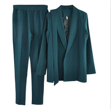 Load image into Gallery viewer, stylish Office Lady Sets pant suits shawl collar belted blazer jacket and pant two piece set OL Street wear- More colors available.