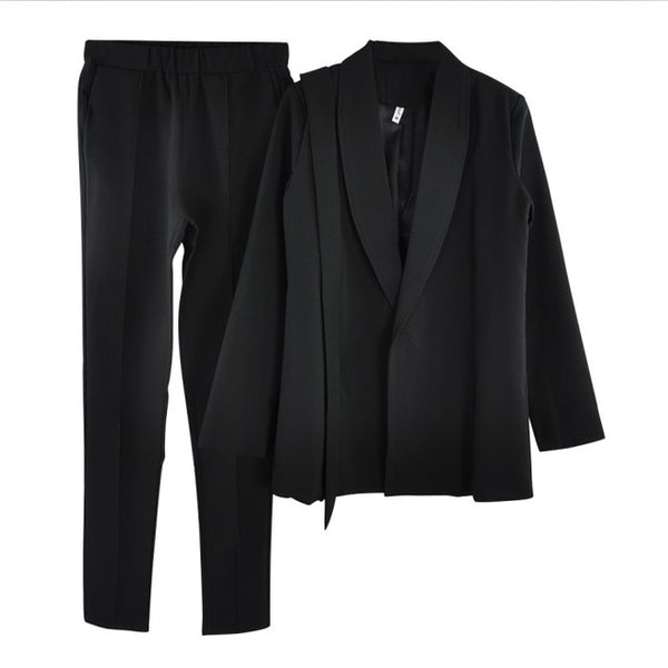 stylish Office Lady Sets pant suits shawl collar belted blazer jacket and pant two piece set OL Street wear- More colors available.