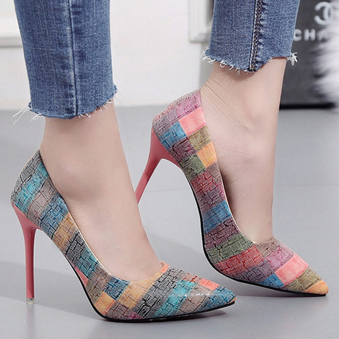 Colorful Striped Comfort Ladies Pointed Toe Classic Pumps