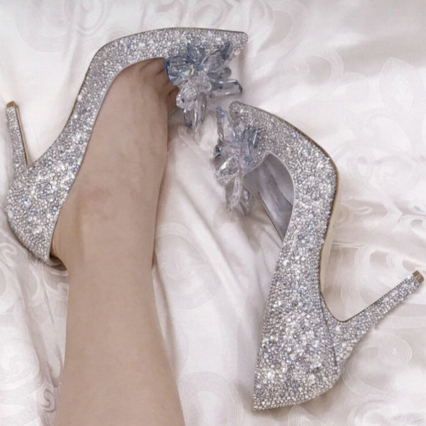 White Drill Rhinestone Crystal Pointed High Heels