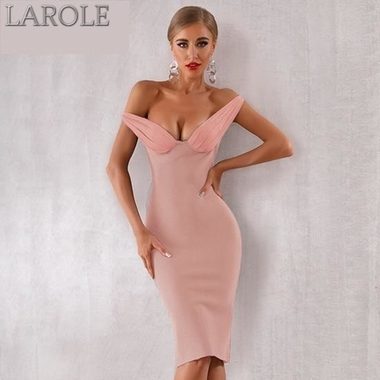 Elegant Off Shoulder Pink Cocktail Bodycon Dress With Plunge Neckline. More Colors Are Available