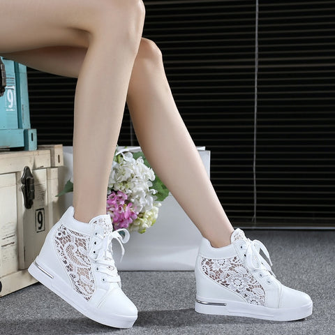 Woman Breathable Mesh Sneakers Flats Lace Loafers with Thick Heels Platform Wedges -Casual Comfort Creepers
