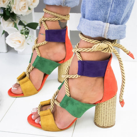 Lace Up Summer  Pointed Fish Mouth Gladiator Sandals With  Hemp Rope