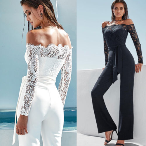 Hirigin Off-Shoulder Long Sleeve Party Jumpsuit - More Colors Are Available