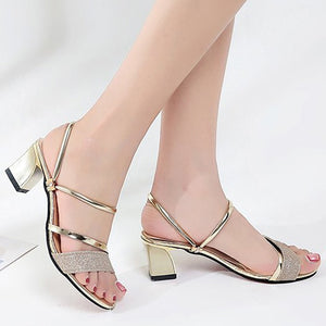 Sequin Metal Square Gold Silver Comfort Sandals