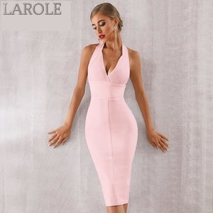 White Sexy Halter V Neck Backless bodycon Evening Party Dress - More Colors are available