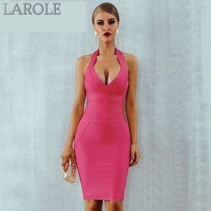 Sexy Halter Backless Sleeveless Bodycon Club Celebrity Evening Party Midi  Dresses - Available in Multiple colors