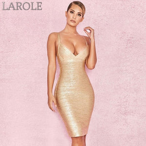 Elegant Spaghetti Strapped Gold Evening Party Dress