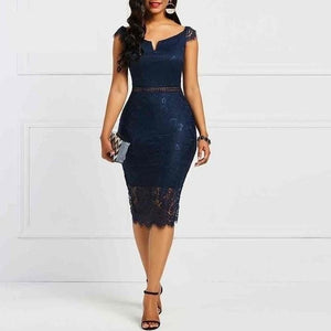 Lace Slash Neck Hollow  Elegant  Retro Blue  Midi Dresses - More Colors Are Available