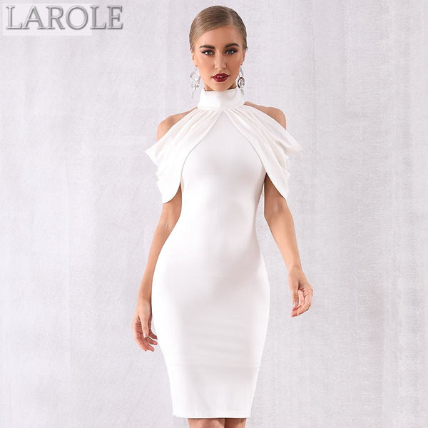 Elegant White Off Shoulder Draped Halter Bodycon Midi Dress