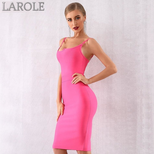 Hot Pink Spaghetti Strap Sleeveless Celebrity Evening Dress