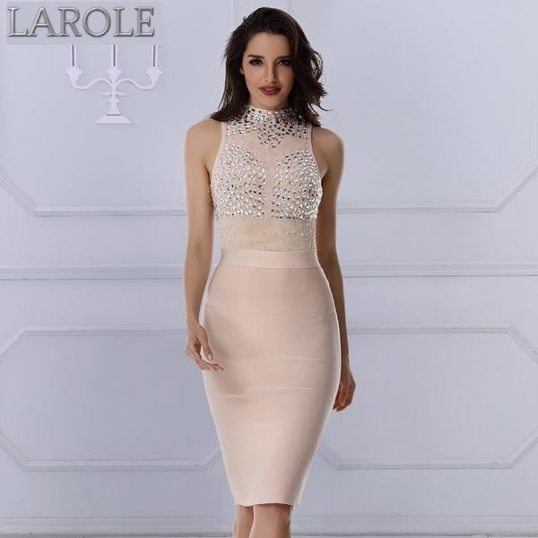 Shine Like A Diamond Nude  Sexy Tank Sleeveless Party Bandage Dresses- More colors available