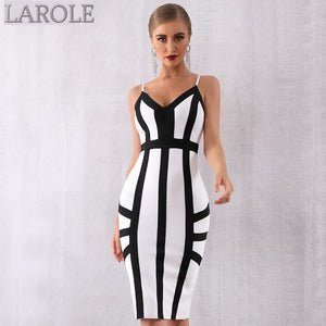 Elegant Black and White Striped Spaghetti Strap Party Dress