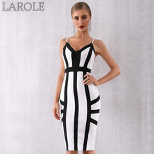 Load image into Gallery viewer, Elegant Black and White Striped Spaghetti Strap Party Dress