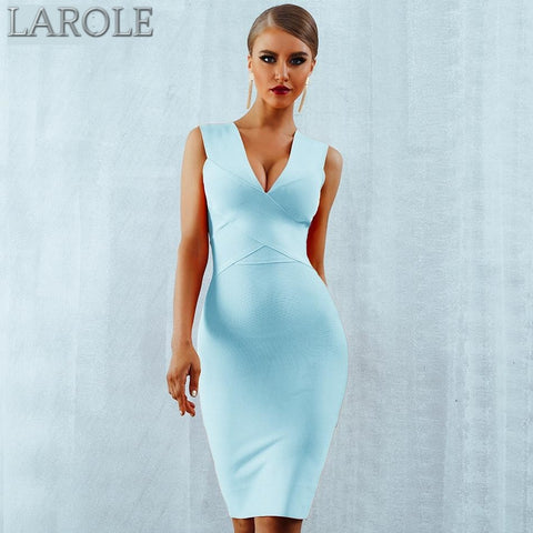 Sky Blue Deep V-Neck Sleeveless Tank Cocktail Dress- Available In More Color