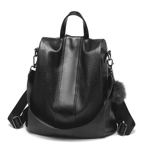 Anti-theft women backpack and shoulder bag in one -  Black