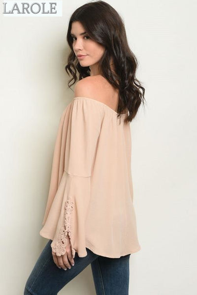 LAROLE | Sand Beige long bell sleeve off shoulder tunic blouse.