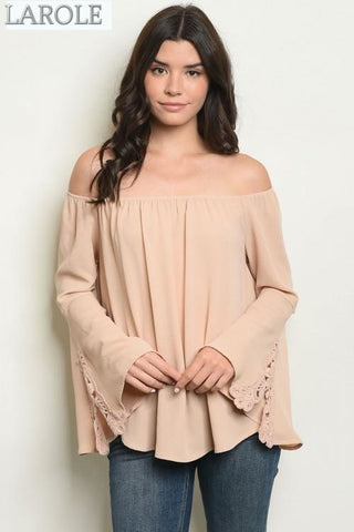 beige bell sleeve off the shoulder blouse from larole.com
