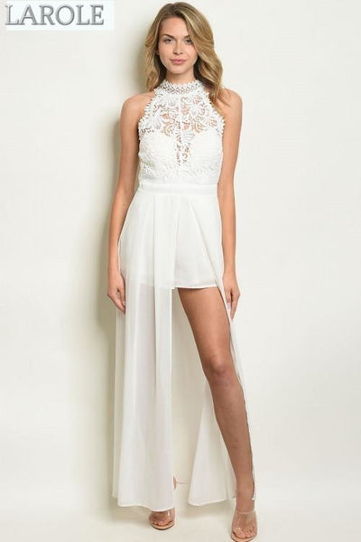 LAROLE | HIGH NECK CROCHET  WHITE JUMPSUIT WITH FLOWY TRAIN