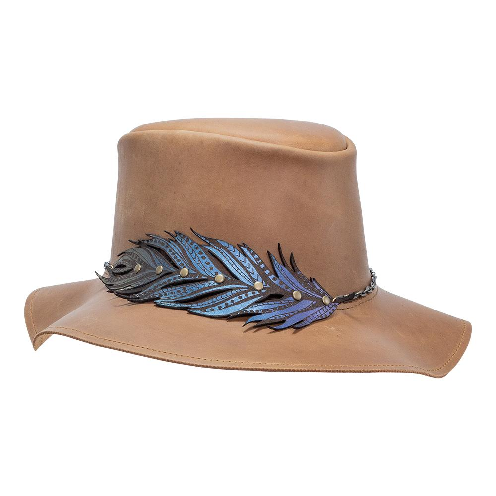 Leather Floppy Brim Boheme Hat w/ Feather Hat Band American Outback Hats from Head'n Home