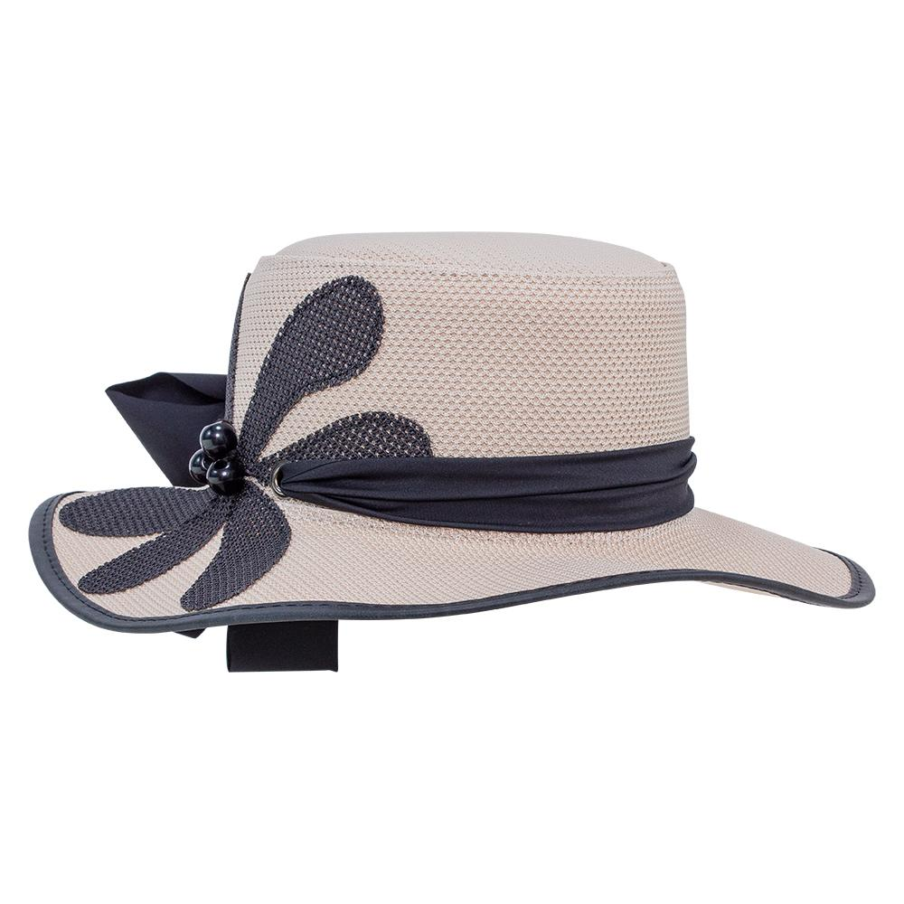 Women's Wide Brim Floppy Hat w/ Flower Hat Band Flora SolAir Hats from Head'n Home