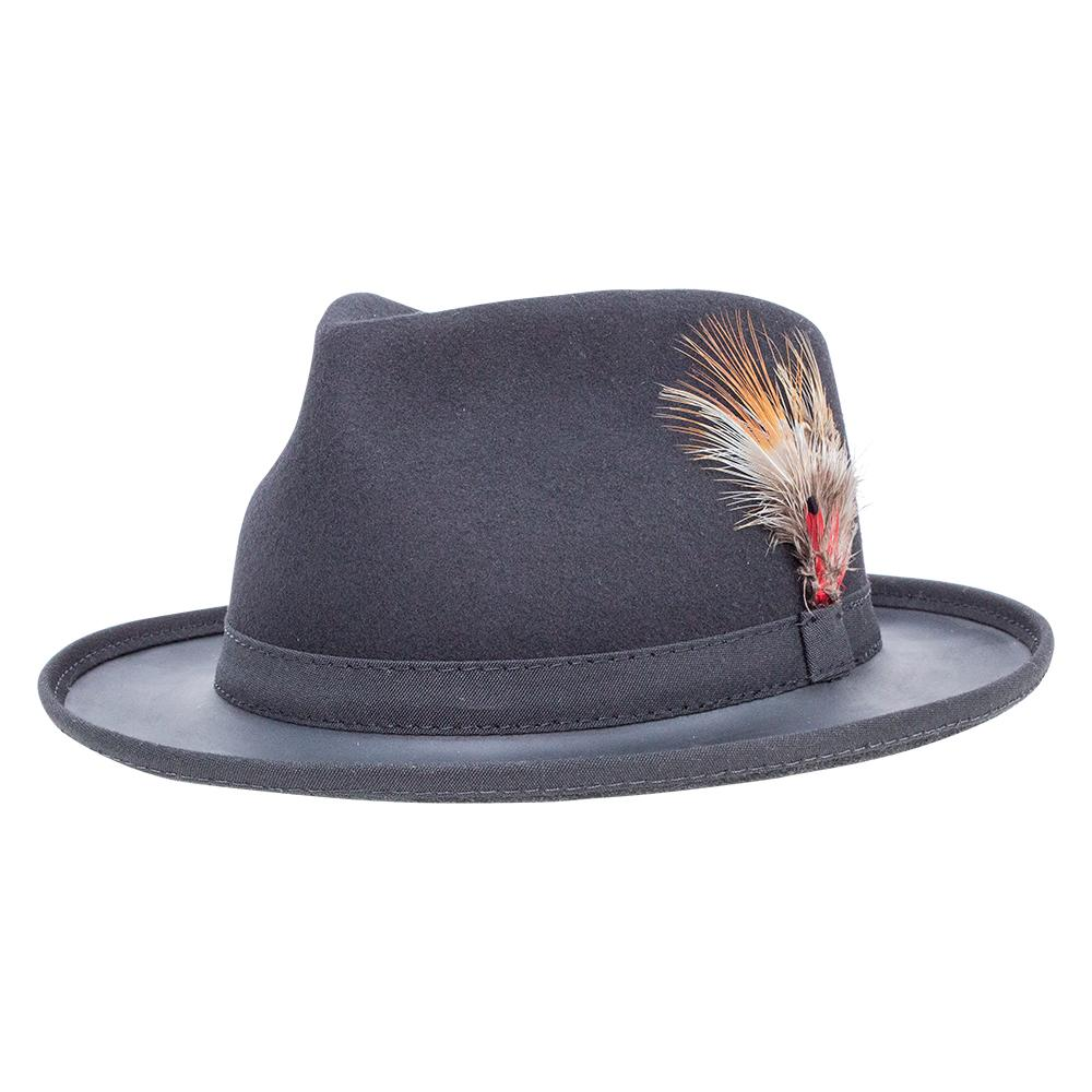 Felt & Leather Fedora with Feather Detail, Trilby Hat Ashbury Hat from Head'n Home