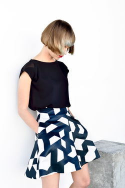 WP Monochrome A line flare skirt
