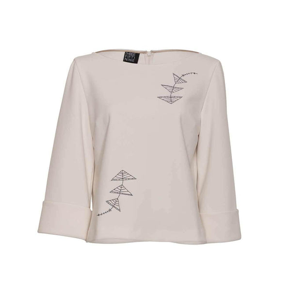 Ivory Embroidered Loose-fit Top