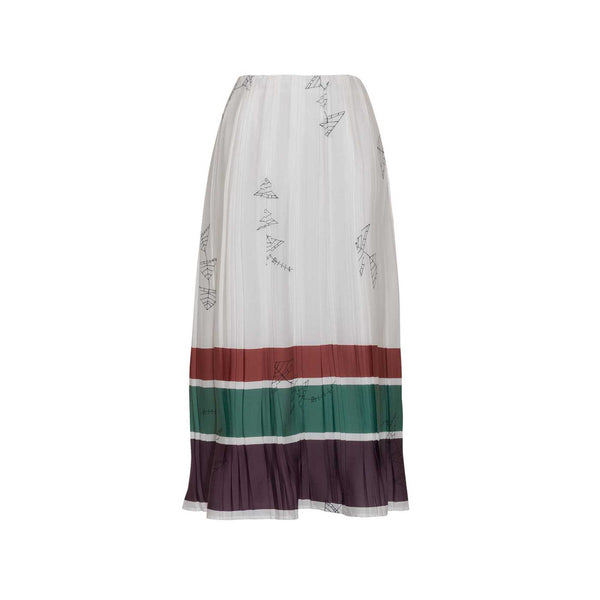 Off-White Printed Pleated Midi Skirt