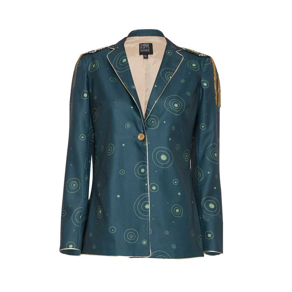 Teal Green Printed Blazer with Epaulettes