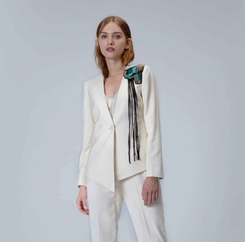 Ivory Asymmetric Blazer with hand-beaded Brooch