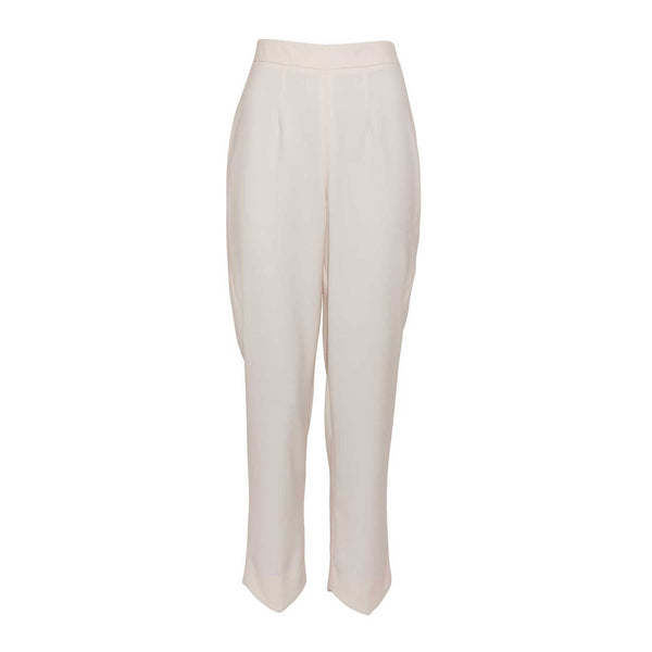 Ivory Slim Fit Pants with Pointed Hems