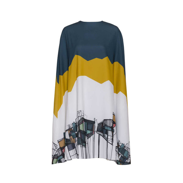 Printed Loose Cape Dress