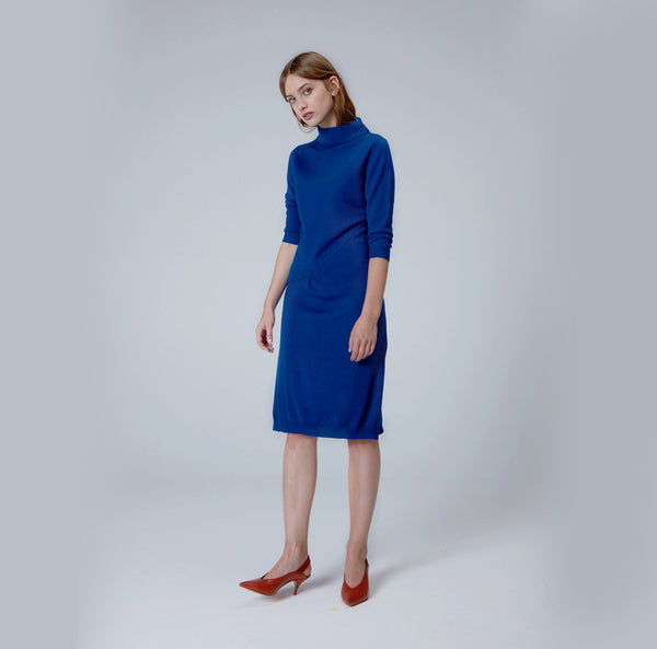 Navy Blue High Neck Dress