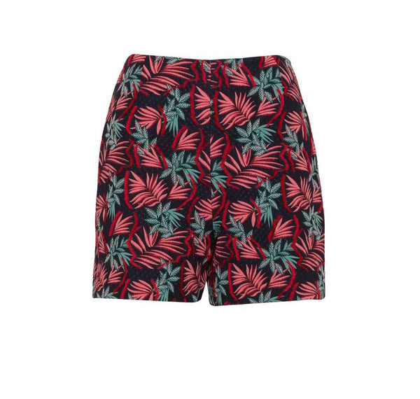 Multi-Colored Jacquard High Waist Shorts