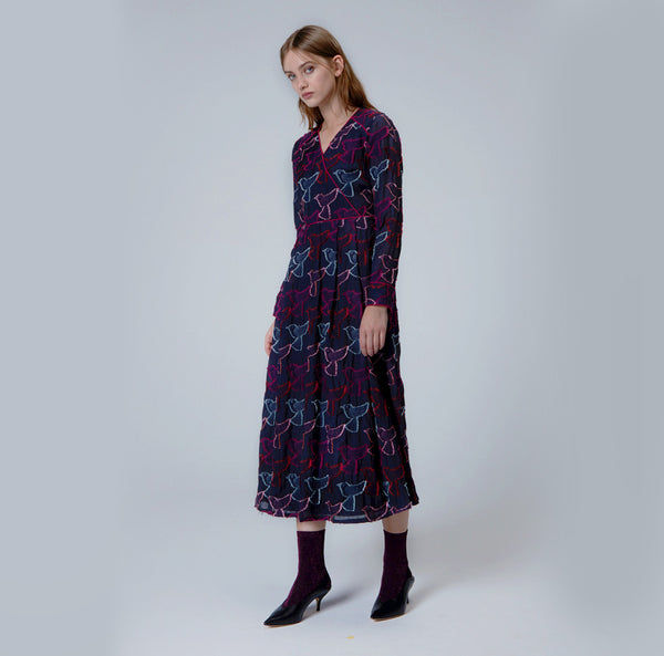 Multi-Colored Jacquard Mid Calf Length Dress
