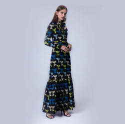 Multi-Colored Jacquard Maxi Dress