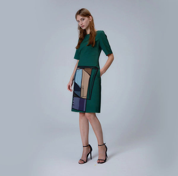 Emerald Green Printed A-Line Dress