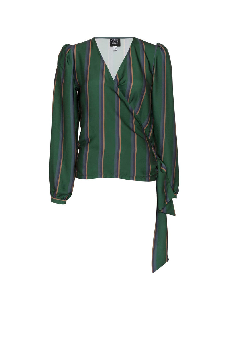 Emerald Green Stripped Balloon Sleeved Blouse