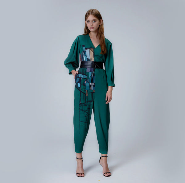 Emerald Green Printed Jumpsuit