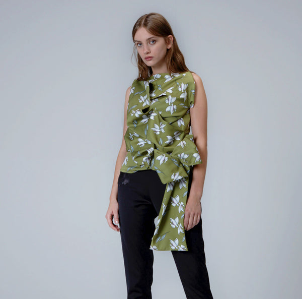 Moss Green Hand Drapped Printed Top