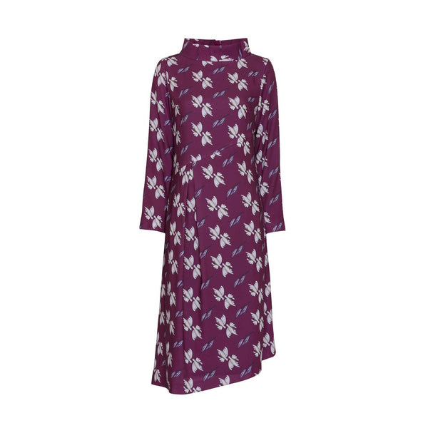 Red-Violet Printed Knee Length Dress