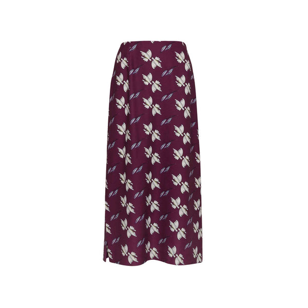 Plum Midi Skirt with Side Slits